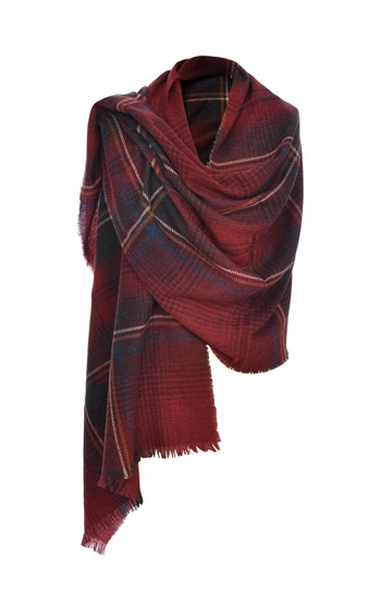 Cashmere mix tartan wrap in claret/blue