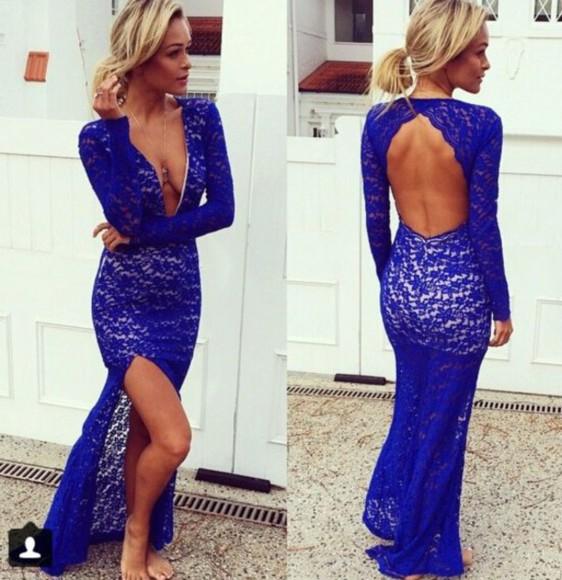 lace dress party dress backless dress slit dress