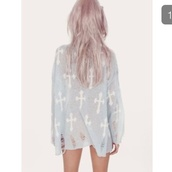 jumper,top,baggy,oversized,ripped,holes,crosses,pastel goth,grunge,goth,emo,alternative,scene,drop dead clothing