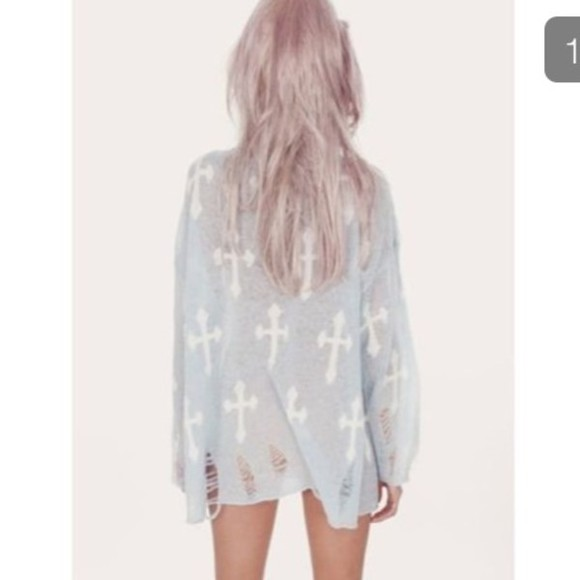 top grunge distressed ripped jumper baggy oversized holes cross pastel goth goth emo alternative scene drop dead