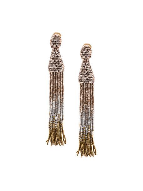 oscar de la renta long women ombre beaded earrings grey metallic jewels