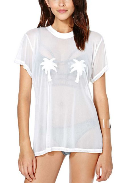 Women's coconut tree printing round neck short sleeve perspective t