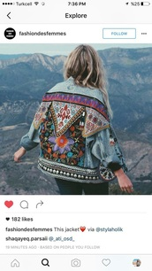 jacket,denim,denim jacket,blue,girl,aztec,printed jacket,aztec jacket,red,green,yellow