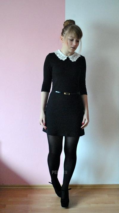 Classic Preepy Look Dress with Lace Collar [FKCH0027] - PersunMall.com