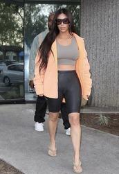 shorts,top,jacket,yeezy,kim kardashian,kardashians,sandals,celebrity,streetstyle