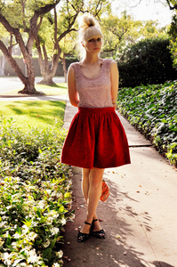 Fancytreehouse — red swingy cord circle skirt