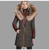 coat,fur hood,olive green,brown leather trim