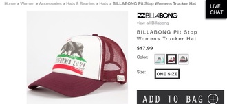 hat california love mahogany billabong tilly's
