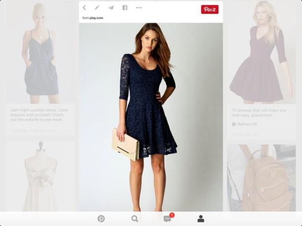 dress navy dress lace dress sleeves