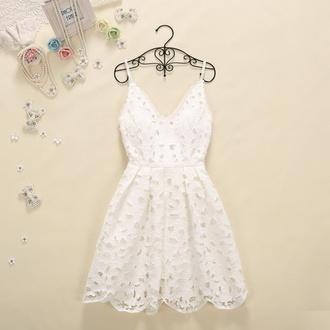 dress white dress pretty dress holes lace dress summer dress