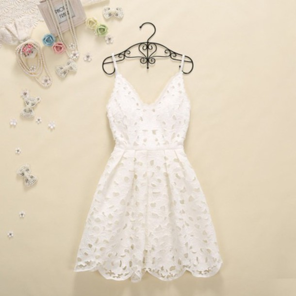 dress white dress dress holes lace dress summer dress