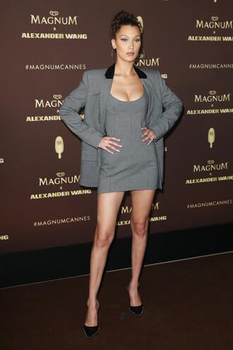 dress mini dress grey grey dress blazer bella hadid model off-duty pumps cannes shoes
