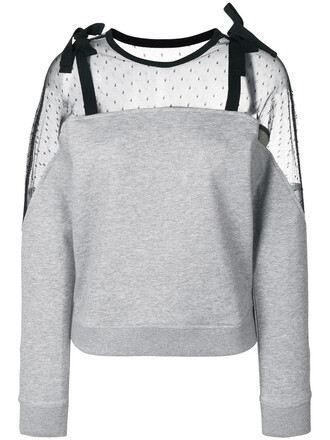 jumper mesh women cotton grey sweater