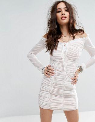 Honey Punch Bardot Bodycon Dress With Sheer Sleeves And Ruching at asos.com