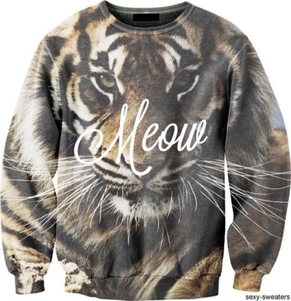 sweater tiger animal face print