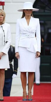 jacket,blazer,white,hat,white blazer,pumps,midi dress,first lady outfits