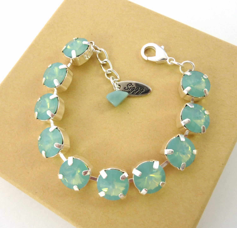 Swarovski crystal pacific opal bracelet, 11mm tennis bracelet,