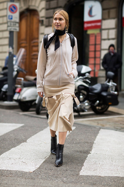 1c87d7c600 skirt, sweatshirt, hoodie, milan fashion week 2016, streetstyle ...