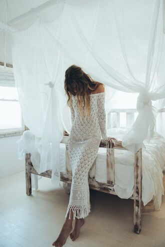 dress boho beach house crochet crochet dress boho dress boho chic white hipster wedding off the shoulder dress fringed dress white long dress long sleeves