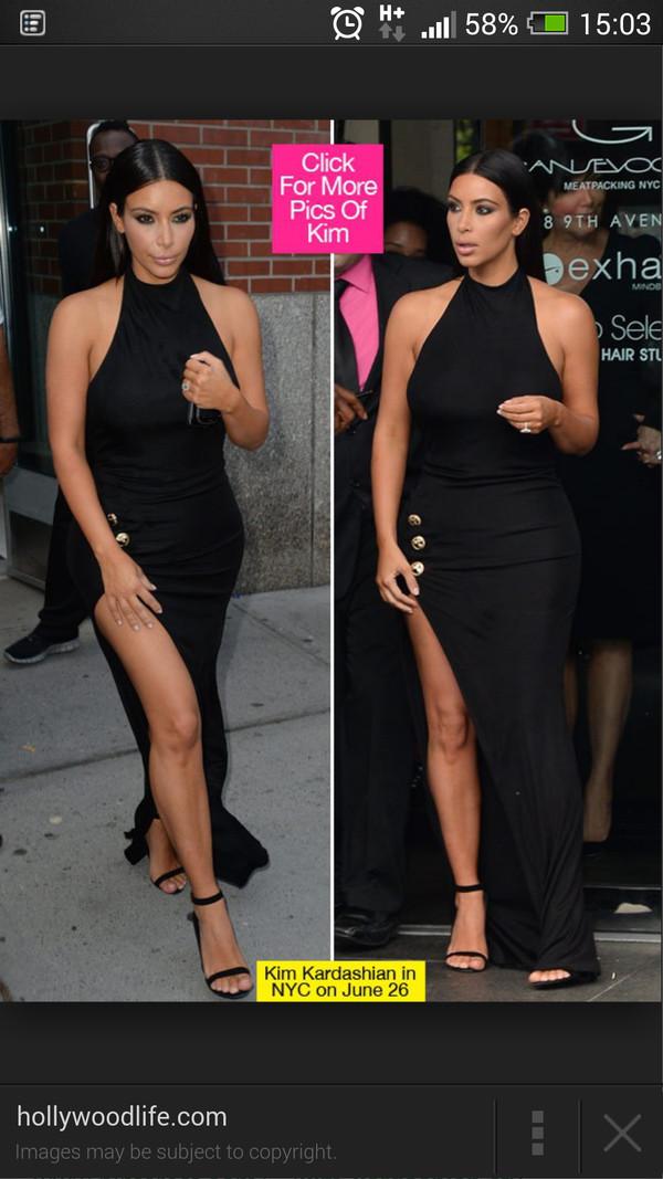 kim kardashian black dress halter neck dress slit dress dress