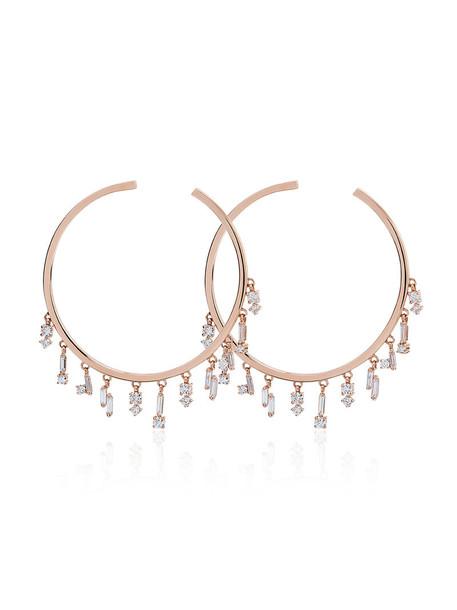 Suzanne Kalan rose gold rose women earrings hoop earrings gold purple pink jewels