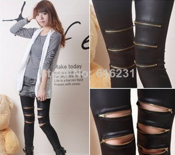 2014 sexy women rock punk Fashion 3 pieces zipper imitation leather leggings girls' leggins-in Legging from Apparel & Accessories on Aliexpress.com