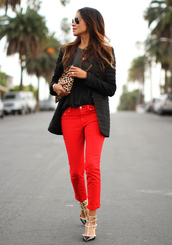 sincerely jules,t-shirt,jeans,jacket,shoes,bag,red jeans,red pants,valentino rockstud