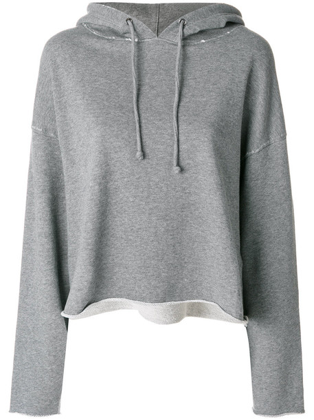 hoodie loose women fit cotton grey sweater