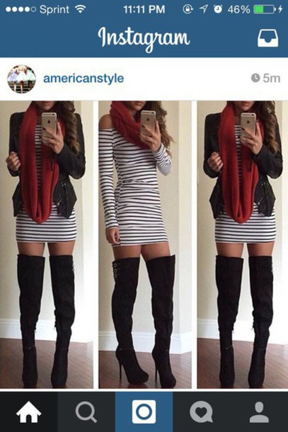 dress stripes boots red scarf heels jacket shoes