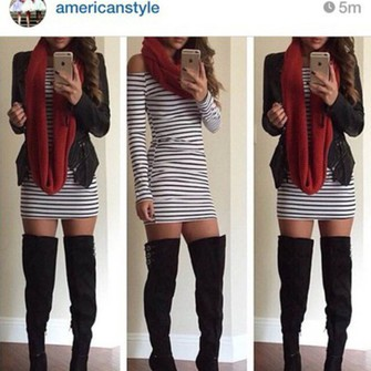 jacket shoes heels dress red scarf boots stripes scarf red