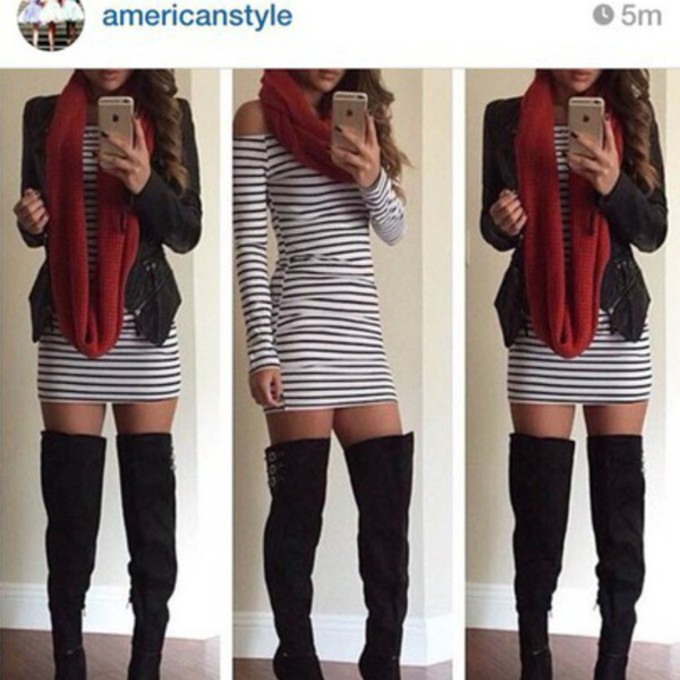 boots shoes jacket red scarf dress heels stripes scarf red