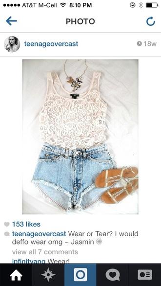 tank top lace cream lace cream crop tops cute alternative boho bohemian blogger fashion blogger denim denim shorts sandals strappy sandals tumblr tumblr girl tumblr clothes shoes jewels shorts