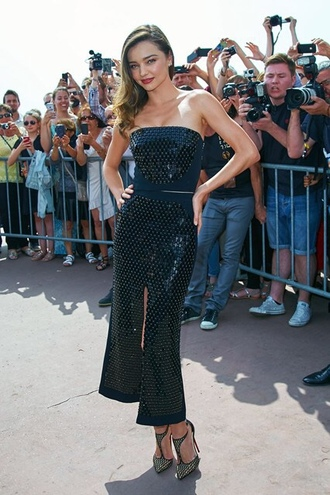 skirt slit skirt miranda kerr strapless pumps cannes embroidered top bustier two-piece