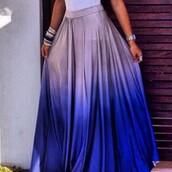 skirt,ombre skirt,maxi skirt,blue skirt,long skirt,purple ombre,free vibrationz,jeans,purple ombre skirt,summer,ombré gray and blue skirt,tie dye shirt,grey skirt,ombre dress,style,summer dress,deep blue and white long skirt