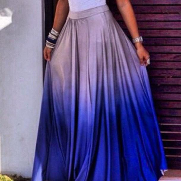 Skirt Ombre Skirt Maxi Skirt Blue Skirt Long Skirt Purple Ombre