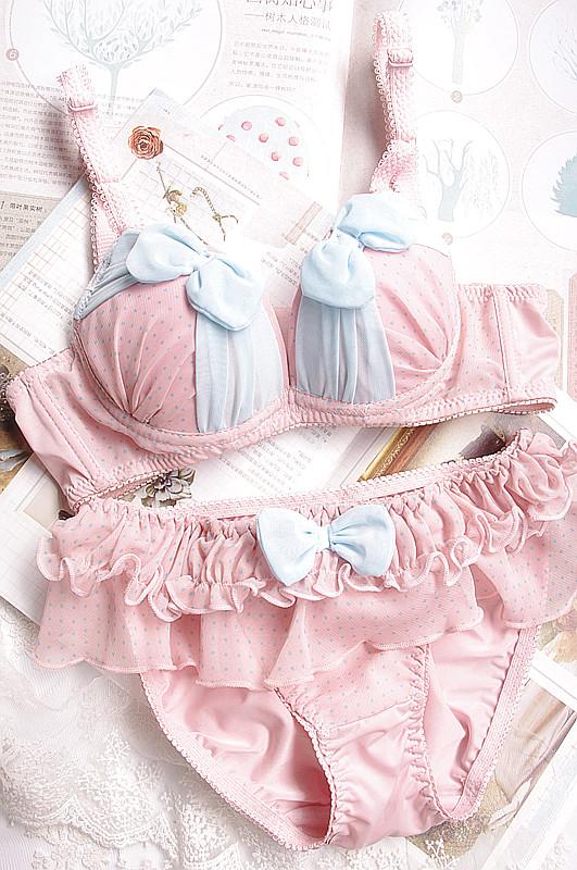 Free shipping fashion cute chiffon dot bow young girl underwear bra set push up