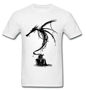 Black Ink Dragon White T-shirt Calligraphy Print Mens Style