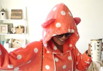 pajamas ears poms hoodie sweater orange polka dots pom poms white