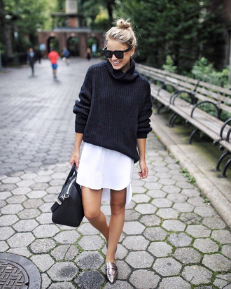 sweater tumblr black sweater knit knitwear dress shirt dress mini dress shoes flats bag black bag sunglasses
