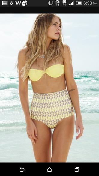 swimwear yellow swimwear high waisted shorts