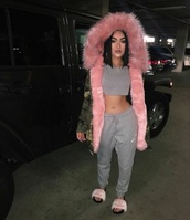 jacket,pink fur hood jacket,shoes,cc,chanel,slide shoes,sandals,fur,faux fur,coat,pink,mink fur,black chyna,camouflage,army green jacket,army green,camo jacket,vintage camouflage jacket,camouflage coat