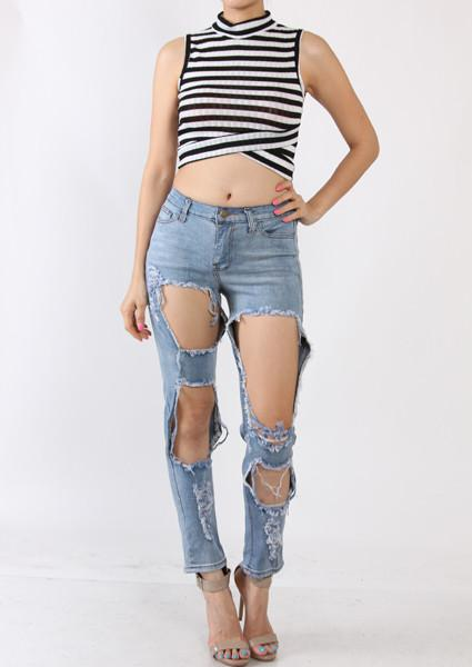 8c2aa03a1fb4a Large Hole Distressed Jeans