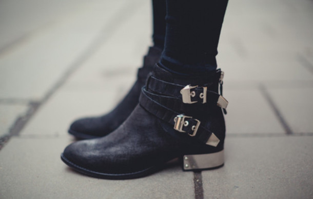 Shoes: black and gold, boots, booties, black, cute, classy, rock ...