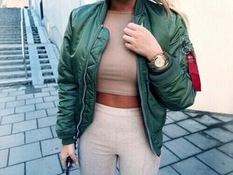 jacket pants leggings beige nude watch nastygal blouse