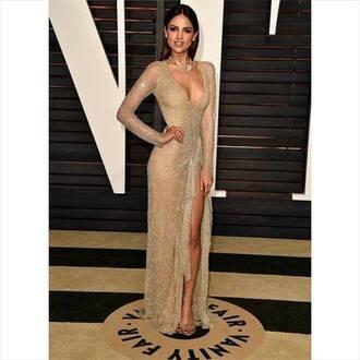 dress prom dress golden dress side split maxidress long sleeves