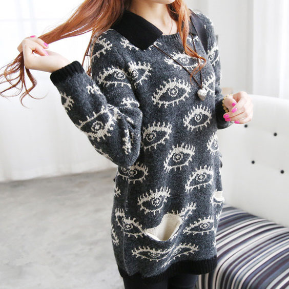 Funny Big Eyes Printed Loose Sweater from needit on Storenvy
