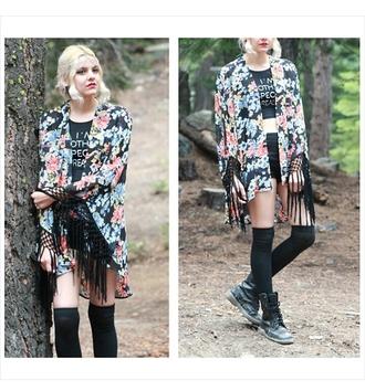cardigan floral kimono summer spring fashion style fringe boho