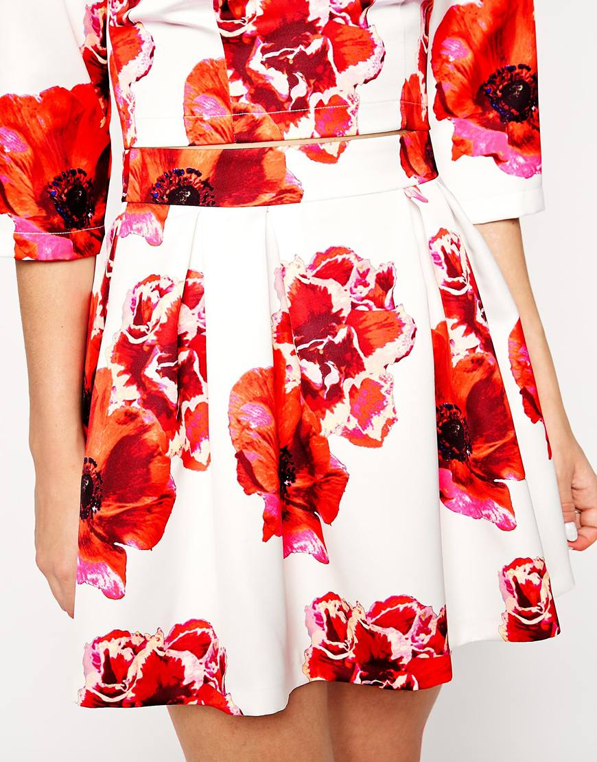 Ord high waisted full skirt in satin in floral print at asos.com