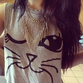 shirt,cats,t-shirt,meow,black,grey,necklace,short sleeved,whiskers,wink,winky eye