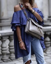 dress,tumblr,off the shoulder,off the shoulder dress,blue dress,mini dress,bag,grey bag,denim,jeans,blue jeans,bracelets,silver bracelet,jewels,jewelry,necklace